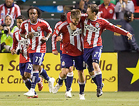 Chivas USA forward Justin Braun (17) celebrates his goal knotting up the match with teammate Ben Zemanski (21). Real Salt Lake defeated CD Chivas USA 2-1at Home Depot Center stadium in Carson, California on Saturday May 22, 2010.  .