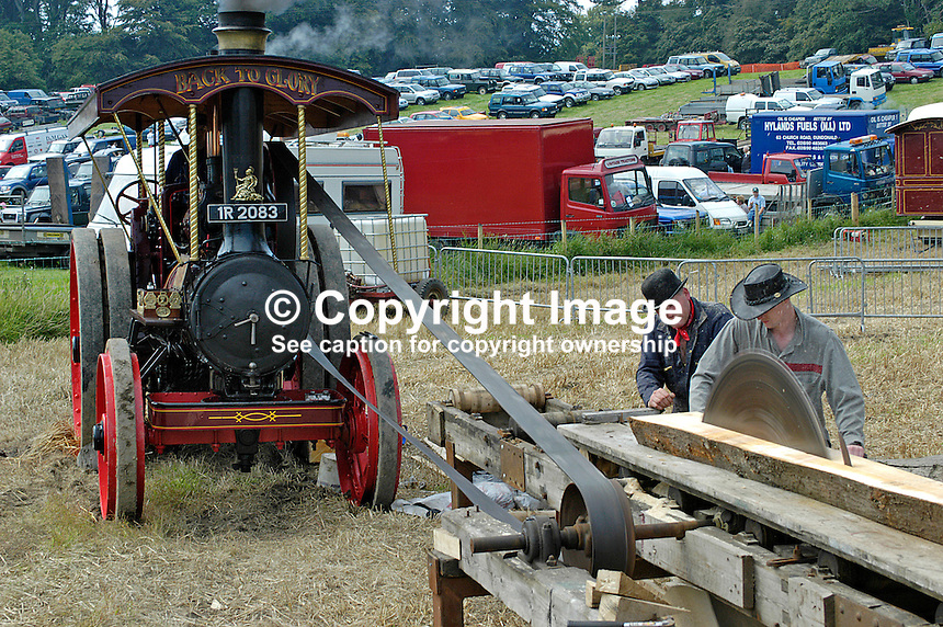 Demonstration of steam-powered sawmill at the Co Down Traction Engine Club 33rd Rally at Mount Stewart, Newtownards. 200408145406...Copyright Image from Victor Patterson, 54 Dorchester Park, Belfast, UK, BT9 6RJ..Tel: +44 28 9066 1296.Mob: +44 7802 353836.Voicemail +44 20 8816 7153.Skype: victorpattersonbelfast.Email: victorpatterson@mac.com.Email: victorpatterson@ireland.com (back-up)..IMPORTANT: If you wish to use this image or any other of my images please go to www.victorpatterson.com and click on the Terms & Conditions. Then contact me by email or phone with the reference number(s) of the image(s) concerned.
