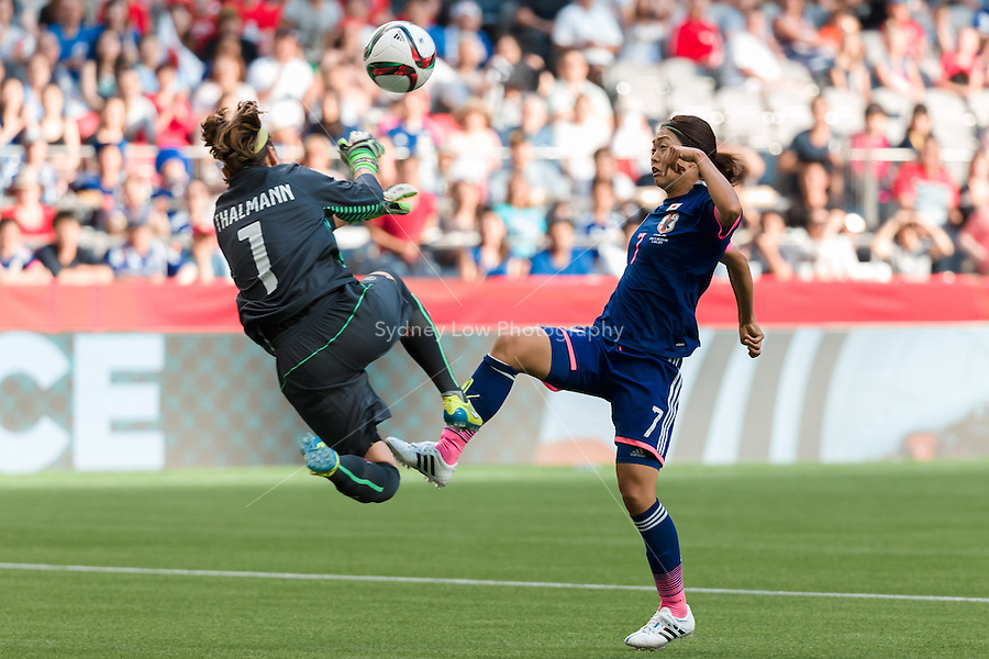 June 8, 2015: Kozue ANDO of Japan kicks the ball during a Group C match at the FIFA Women's World Cup Canada 2015 between Japan and Switzerland at BC Place Stadium on 8 June 2015 in Vancouver, Canada. Sydney Low/AsteriskImages