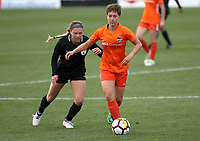 Portland, OR - Wednesday March 14, 2018: Claire Falknor, Lauren Kaskie during a National Women's Soccer League (NWSL) pre season match between the Houston Dash and the Chicago Red Stars at Merlo Field.