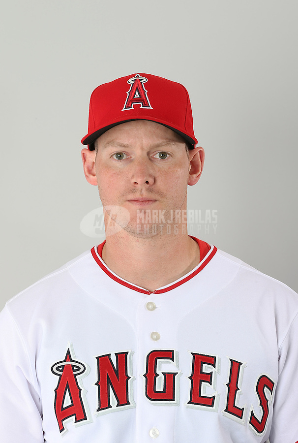 Feb. 21, 2113; Tempe, AZ, USA: Los Angeles Angels catcher Luke Carlin poses for a portrait during photo day at Tempe Diablo Stadium. Mandatory Credit: Mark J. Rebilas-