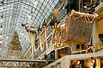 Stock photo of Christmas decoration in a shopping mall Toronto Eaton Centre Santa sledge and deer with xmas lights Toronto Canada