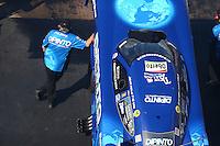 Jun 17, 2016; Bristol, TN, USA; Team owner Jim Dunn with NHRA funny car driver John Hale during qualifying for the Thunder Valley Nationals at Bristol Dragway. Mandatory Credit: Mark J. Rebilas-USA TODAY Sports