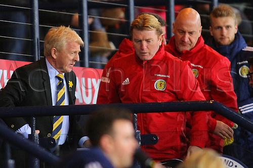 29.03.2016. Hampden Park, Glasgow, Scotland. International Football Friendly Scotland versus Denmark. Strachan and the Scotland coaching staff on the bench