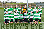 The Killarney Celtic team that played Kilcolman in the u14 FAI cup on Saturday in Celtic Park front l-r: Tara murphy, Moll Kelly Kate Murphy Lucy Donnelly Gillian Courtney Chloe Fitzgerald Shauna O'Donoghue. Back row: Anna Clifford, Isabelle Murphy Ciara Randles, Lauen Burke, Edel Harnett, Kayleigh McGlashan Chloe O'Connor Aoife Cronin
