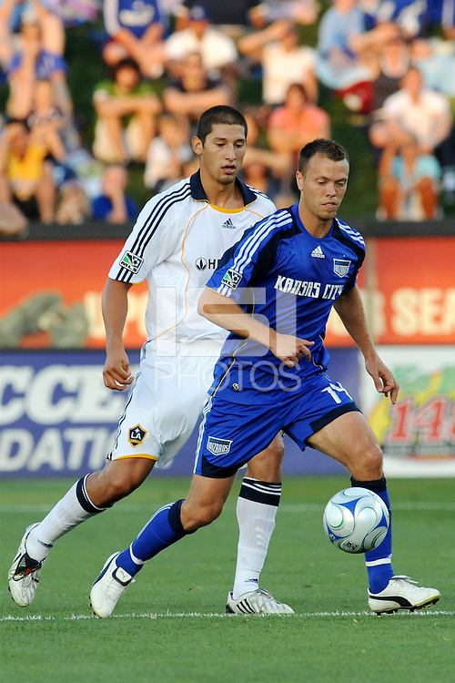 Jack Jewsbury #14,Omar Gonzalez..Kansas City Wizards tied 1-1 with L.A Galaxy at Community America BallPark, Kansas City, Kansas.