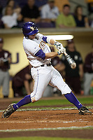 LSU Tigers first baseman Mason Katz #8 swings against the Mississippi State Bulldogs during the NCAA baseball game on March 16, 2012 at Alex Box Stadium in Baton Rouge, Louisiana. LSU defeated Mississippi State 3-2 in 10 innings. (Andrew Woolley / Four Seam Images)