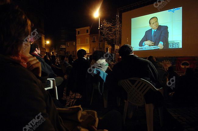 At a screen in central Rome people watched Silvio Berlusconi the last debate with Roman Prodi before the parliamentary elections on Sunday.  April 3, 2006