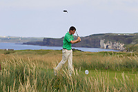 Dermot McElroy (IRL) on the 15th tee during the Afternoon Singles between Ireland and Wales at the Home Internationals at Royal Portrush Golf Club on Thursday 13th August 2015.<br /> Picture:  Thos Caffrey / www.golffile.ie