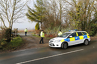 Pictured: Police at the entrance of Broadmoor, a property near St Clears in Carmarthenshire, Wales, UK. Wedensday 07 March 2018<br /> Re: A boy, 16, has been arrested on suspicion of murder following an incident in St Clears, west Wales.<br /> Officers were called to a property in Carmarthenshire at about 5.49pm on Tuesday.<br /> Dyfed-Powys Police said the force was investigating the murder of a woman and the teenager was in custody.<br /> An incident room has been set up at Carmarthen Police Station. The force said it was not looking for anyone else.<br /> Next of kin have been informed and are being supported by specialist officers.
