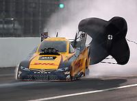 Feb 10, 2018; Pomona, CA, USA; NHRA funny car driver J.R. Todd during qualifying for the Winternationals at Auto Club Raceway at Pomona. Mandatory Credit: Mark J. Rebilas-USA TODAY Sports