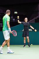 Rotterdam, The Netherlands, Februari 8, 2016,  ABNAMROWTT, BallGirl, Lukas Rosol (CZE) <br /> Photo: Tennisimages/Henk Koster
