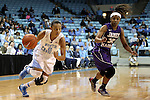 02 January 2014: North Carolina's Latifah Coleman (2) and JMU's Angela Mickens (32). The University of North Carolina Tar Heels played the James Madison University Dukes in an NCAA Division I women's basketball game at Carmichael Arena in Chapel Hill, North Carolina.