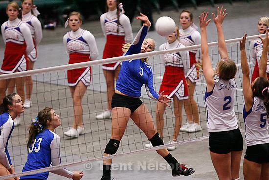 Trent Nelson  |  The Salt Lake Tribune.Richfield's Sloane Roundy spikes the ball. Richfield vs. San Juan high school volleyball, 2A State Championship at Utah Valley University in Orem, UT on Saturday, October 29, 2011.
