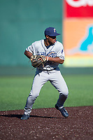 Tri-City Dust Devils shortstop Xavier Edwards (2) prepares to make a throw to first base during a Northwest League game against the Everett AquaSox at Everett Memorial Stadium on September 3, 2018 in Everett, Washington. The Everett AquaSox defeated the Tri-City Dust Devils by a score of 8-3. (Zachary Lucy/Four Seam Images)