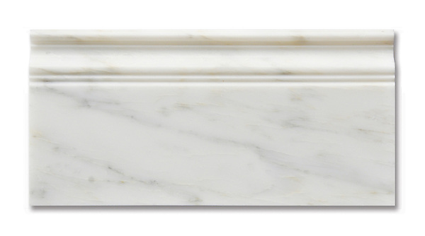 Calacatta Radiance Base Molding available in a honed or polished finish is part of New Ravenna's Studio Line of ready to ship mosaics.