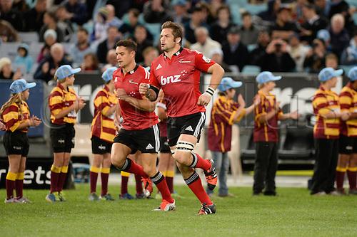 23.05.2015.  Sydney, Australia. Super Rugby. NSW Waratahs versus the Crusaders. Crusaders flanker Richie McCaw runs onto the field. The Waratahs won 32-22.