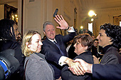 United States President Bill Clinton greets supporters of the Breast and Cervical Cancer Act of 2000 following a ceremony in the East Room of the White House in Washington, DC on January 4, 2001.<br /> Credit: Ron Sachs / CNP