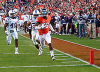 CHARLOTTESVILLE, VA- NOVEMBER 12:  Wide receiver Kris Burd #18 of the Virginia Cavaliers runs for a touchdown in front of safety Matt Daniels #40 and safety Jordon Byas #38 of the Duke Blue Devils during the game on November 12, 2011 at Scott Stadium in Charlottesville, Virginia. Virginia defeated Duke 31-21. (Photo by Andrew Shurtleff/Getty Images) *** Local Caption *** Matt Daniels;Kris Burd;Matt Daniels