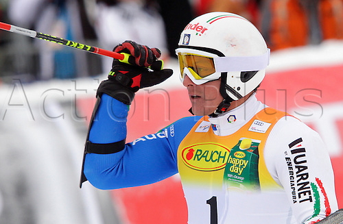 Fourth placed Massimiliano Blardone of Italy reacts in finish of second run of second Men giant slalom race of Audi FIS alpine skiing World Cup in Kranjska Gora, Slovenia. Second giant slalom race of Men Audi FIS Alpine skiing World Cup 2009-10, was held on Saturday in Kranjska Gora, Slovenia, on 30th of January 2010. Photo Primoz/Actionplus - Editorial Use No Sweden or Finland