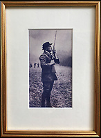 """BNPS.co.uk (01202 558833)<br /> Pic: Purdey&Son/BNPS<br /> <br /> Purdey's still keep the records of the shotguns - and a photograph of Churchill using the guns at Blenheim.<br /> <br /> Both barrels - Winston Churchill's personal shotguns' go on display at Blenheim Palace for the first time.<br /> <br /> The bespoke guns are part of an exhibition of the 'Greatest Briton' at Blenheim Palace.<br /> <br /> The beautifully made firearms have been loaned by the statesman's great grandson Randolph Churchill.<br /> <br /> The pair of Woodward guns were a gift to the future Prime Minister, who was born at Blenheim Palace, from his grandfather the 10th Duke of Marlborough.<br /> <br /> They were delivered to the newly-elected MP for Oldham care of the Houses of Parliament in 1902 within an ornate oak and leather case.<br /> <br /> """"In the world of gun making, James Woodward & Sons are often referred to as 'the gunmaker's gunmaker',"""" said Christopher Beaumont of Holts Auctioneers, Europe's leading auction house for fine modern and antique firearms.<br /> <br /> """"Being made for one of the most iconic figures in modern history adds a virtually unquantifiable value to them – and were they ever to appear at auction it would not surprise me to see that value double, triple or even quadruple on the day"""" he added.<br /> <br /> Woodward & Sons was purchased by James Purdey & Sons in the 1940s who still hold a large number of the original record and order books; including Churchill's."""