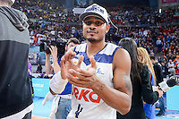 Real Madrid's Dontaye Draper celebrating the championship during Quarter Finals match of 2017 King's Cup at Fernando Buesa Arena in Vitoria, Spain. February 19, 2017. (ALTERPHOTOS/BorjaB.Hojas)