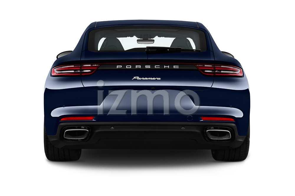 Straight rear view of a 2018 Porsche Panamera Turbo Base 5 Door Hatchback stock images