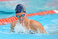 15 October 2010:  FIU's Erin Pavlick competes in the 200 yard medley relay during the meet between the FIU Golden Panthers and the University of Miami Hurricanes at the Norman Whitten Student Union Pool in Coral Gables, Florida.