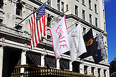 """Flags flown on the Fifth Avenue exterior of The Plaza Hotel in New York, New York looking towards Central Park on Wednesday, October 6, 2010.  The Plaza, which bills itself as """"the crown jewel of Manhattan's fabled Fifth Avenue"""" was recently renovated and partially converted to condominiums and retail. .Credit: Ron Sachs / CNP"""