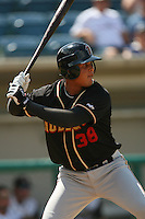 June 15 2007:  Leonardo Reyes of the Modesto Nuts during game against the Rancho Cucamonga Quakes at The Epicenter in Rancho Cucamonga,CA.  Photo by Larry Goren/Four Seam Image