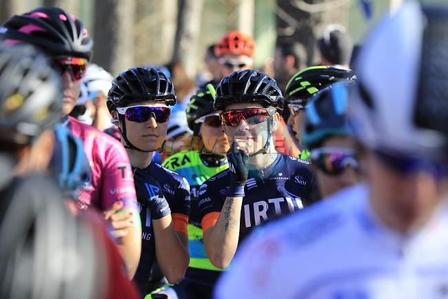 Ready to start the Strade Bianche Women Elite 2019 running 133km from Siena to Siena, held over the white gravel roads of Tuscany, Italy. 9th March 2019.<br /> Picture: Eoin Clarke | Cyclefile<br /> <br /> <br /> All photos usage must carry mandatory copyright credit (© Cyclefile | Eoin Clarke)