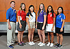 The Newsday All-Long Island girls golf team poses for a group photo at company headquarters on Wednesday, June 15, 2016. Appearing are, from left, Coach Keith Doran of Kellenberg, Cassie Hall of Smithtown East, Emilie Guo of Jericho, Meg O'Mara of Sayville (Golfer of the Year), Malini Rudra of Syosset and Nikki Dilluvio of Kellenberg.