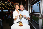 Celebrity Golf @ Golf Live.Brian McFadden with his wife Vogue and the Ryder Cup trophy..Celtic Manor Resort.10.05.13.©Steve Pope
