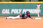 02 June 2016: Nova Southeastern's Jancarlos Cintron-Torres tags second base. The Nova Southeastern University Sharks played the Cal Poly Pomona Broncos in Game 11 of the 2016 NCAA Division II College World Series  at Coleman Field at the USA Baseball National Training Complex in Cary, North Carolina. Nova Southeastern won the semifinal game 4-1 and advanced to the championship series.