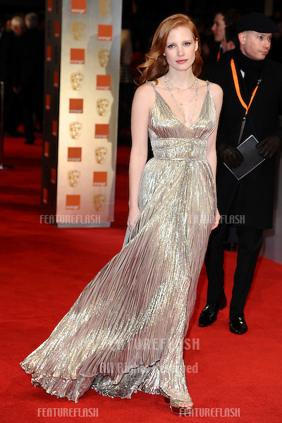 Jessica Chastain arriving for the BAFTA Film Awards 2012 at the Royal Opera House, Covent Garden, London. 12/02/2012  Picture by: Steve Vas / Featureflash