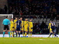 19th November 2019; Hampden Park, Glasgow, Scotland; European Championships 2020 Qualifier, Scotland versus Kazakhstan; John McGinn of Scotland scores equaliser from free kick  to make it 1-1 in the 48th minute
