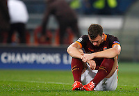 Calcio, Champions League: Gruppo E - Roma vs Bate Borisov. Roma, stadio Olimpico, 9 dicembre 2015.<br /> Roma's Edin Dzeko reacts at the end of the Champions League Group E football match between Roma and Bate Borisov at Rome's Olympic stadium, 9 December 2015. Roma drawed 0-0 against Bate to join the round of 16 with a mere six points.<br /> UPDATE IMAGES PRESS/Riccardo De Luca