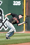 Indianapolis Indians right fielder Adam Boeve makes a catch in foul territory versus the Charlotte Knights at Knights Stadium in Fort Mill, SC, Sunday, August 13, 2006.