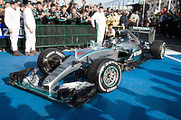 March 15, 2015: Nico Rosberg (DEU) #6 from the Mercedes AMG Petronas F1 Team arrives at parc firm after coming second at the 2015 Australian Formula One Grand Prix at Albert Park, Melbourne, Australia. Photo Sydney Low