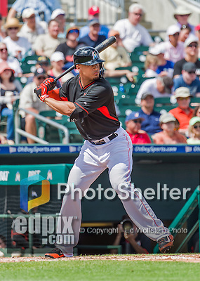 10 March 2015: Miami Marlins outfielder Giancarlo Stanton in Spring Training action against the Washington Nationals at Roger Dean Stadium in Jupiter, Florida. The Marlins edged out the Nationals 2-1 on a walk-off solo home run in the 9th inning of Grapefruit League play. Mandatory Credit: Ed Wolfstein Photo *** RAW (NEF) Image File Available ***