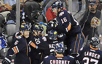 Oklahoma City Barons players celebrate the overtime win after an AHL hockey game against the San Antonio Rampage, Monday, May 7, 2012, in San Antonio. Oklahoma City won 2-1. (Darren Abate/pressphotointl.com)