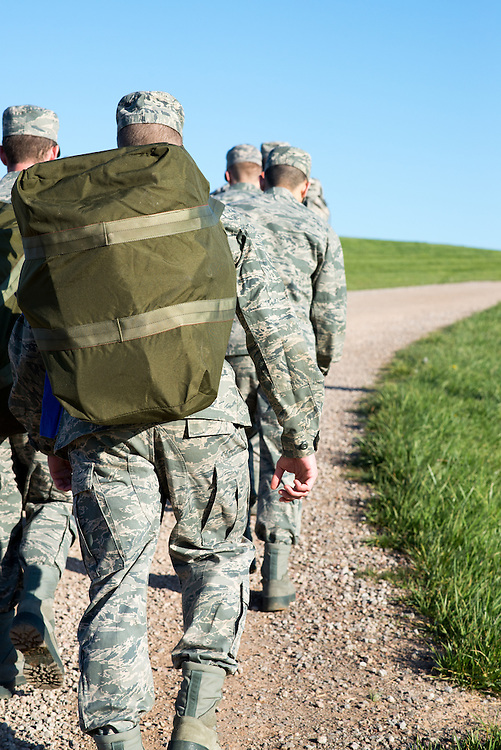 Saturday April 16, 2016 Ohio Univeristy ROTC cadets march to their starting point with their supplies for their mobile exercise. The exercise is designed to test what they've learned over the past semester. Photo by Ohio University / Kaitlynn Stone