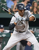New York Yankees third baseman Miguel Andujar (41) bats in the eighth inning against the Baltimore Orioles at Oriole Park at Camden Yards in Baltimore, MD on Wednesday, July 11, 2018. The Yankees won the game 9 - 0.<br /> Credit: Ron Sachs / CNP<br /> (RESTRICTION: NO New York or New Jersey Newspapers or newspapers within a 75 mile radius of New York City)