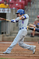 South Bend Cubs second baseman Jhonny Bethencourt (6) swings against the Cedar Rapids Kernels at Veterans Memorial Stadium on May 1, 2018 in Cedar Rapids, Iowa.  (Dennis Hubbard/Four Seam Images)