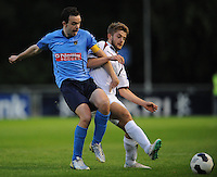 6th June 2014; UCD's Robbie Benson with Alex Byrne of Galway FC. FAI Ford Cup - Round 2, UCD v Galway FC, UCD Bowl, Belfield, Dublin. Picture credit: Tommy Grealy/actionshots.ie.