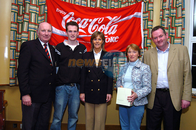 Patrick Mc Entee and Catherine Shortall who scored best in the 1st nine in the R.N.L.I. open mixed foresomes at the County Louth golf club in Baltray, with club Captain Padraig Duffy, Lady Captain Vicky Smyth and Pat Mooney representing the sponsors Drogheda Concentrates. Photo: Colin Bell / Newsfile