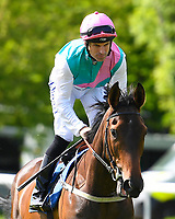 Sun Maiden ridden by Pat Dobbs goes down to the start of The Smith & Williamson Fillies' Novice Stakes (Class 5 ) during Afternoon Racing at Salisbury Racecourse on 17th May 2018