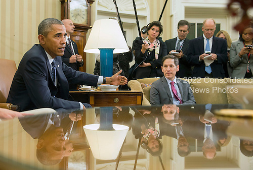 United States President Barack Obama addresses the media following a meeting with his team coordinating the government's Ebola response, in the Oval Office at the White House in Washington, D.C. on October 16, 2014. Obama met with Sylvia Burwell, Secretary of Health and Human Services, Denis McDonough, White House Chief of Staff,  Susan Rice, National Security Advisor, Lisa Monaco, Assistant to the President for Homeland Security and Counterterrorism and Dr. Thomas Frieden, Director of the Centers for Disease Control and Prevention. <br /> Credit: Kevin Dietsch / Pool via CNP