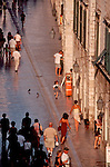 Croatia, Dubrovnik, Stradun, placa, Marble street, Little girl running, UNESCO World Heritage Site, Croatia, Adriatic Sea, Europe, .