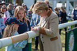 Stamford, Lincolnshire, United Kingdom, 8th September 2019, Clare Balding sign autographs for some young fans ahead of the Show Jumping Phase on Day 4 of the 2019 Land Rover Burghley Horse Trials, Credit: Jonathan Clarke/JPC Images